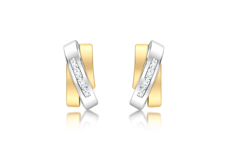 9ct 2-Tone Gold Zirconia  Overlap Triple-Bars Stud Earrings