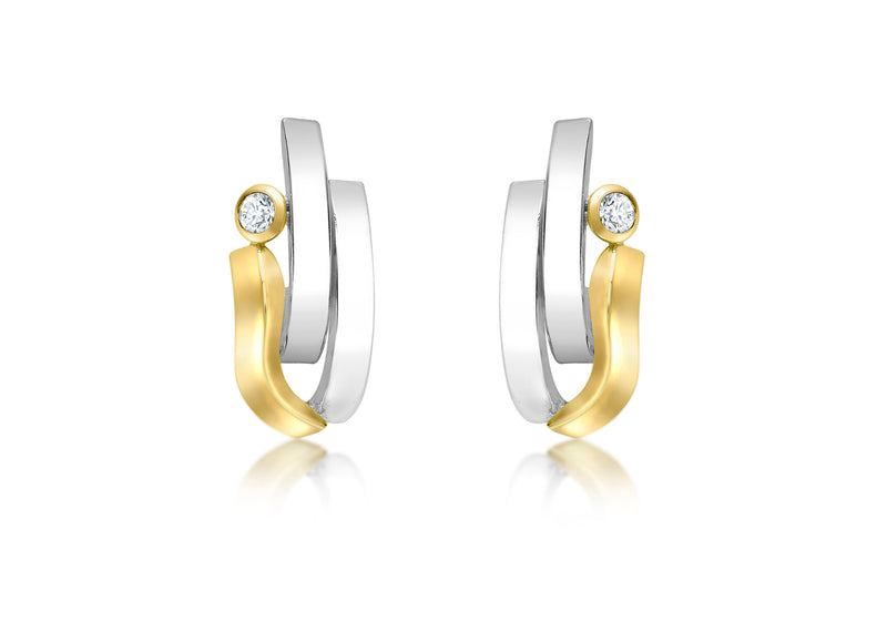 9ct 2-Tone Gold Zirconia  Wave and urved Bars Stud Earrings