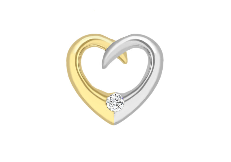 9ct 2-Colour Gold Zirconia  11mm x 10mm Floating Heart Pendant