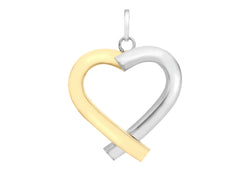 9ct 2-Colour Gold Tube Heart Pendant