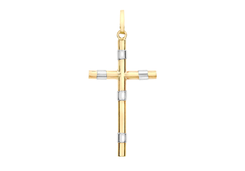 9ct 2-Colour Gold Band Cross Pendant