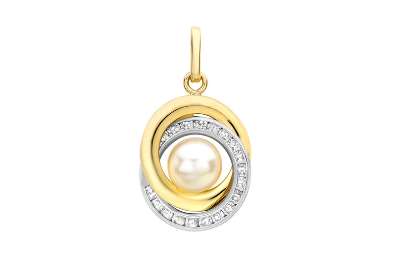 9ct 2-Colour Gold Zirconia  13mm x 18mm Knot & Pearl Pendant