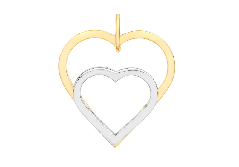 9ct 2-Colour Gold Double-Heart Pendant