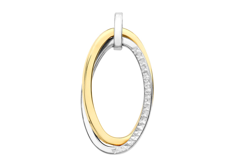 9ct 2-Colour Gold Diamond Cut Double Oval Crossover Pendant