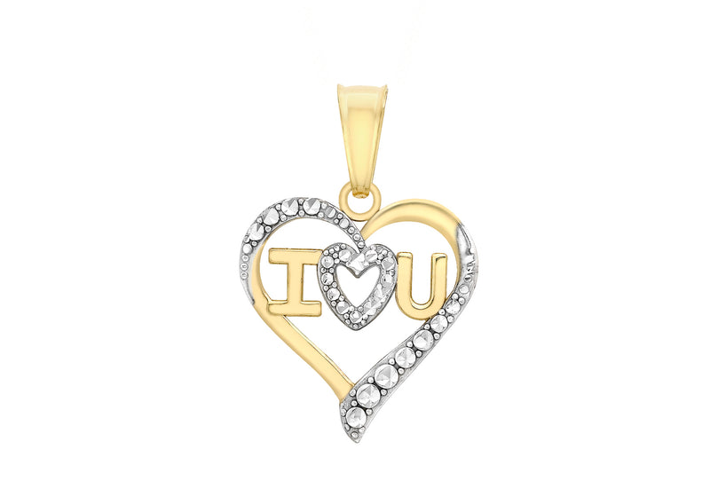 9ct 2-Colour Gold 'I Heart U' Heart Pendant