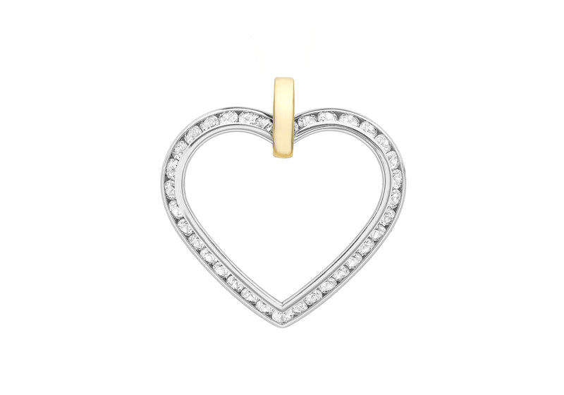 9ct 2-Colour Gold Zirconia  Heart Pendant