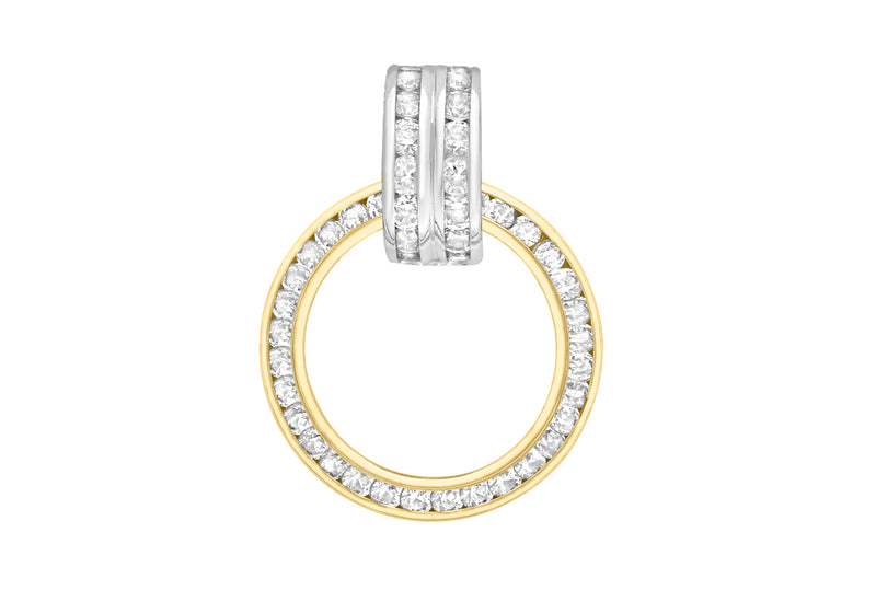 9ct 2-Colour Gold Channel Set Zirconia  17mm x 28mm Ring Pendant