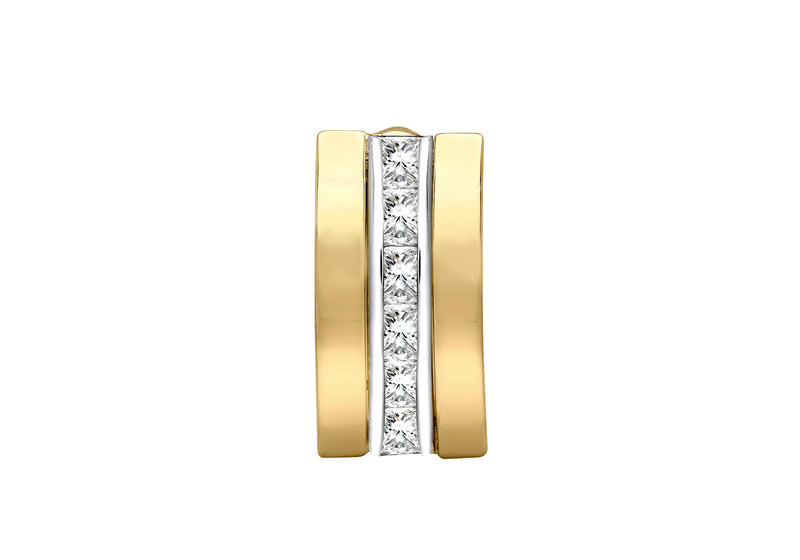9ct 2-Tone Gold Zirconia  7.5mm x 14.8mm Triple-Bars Pendant