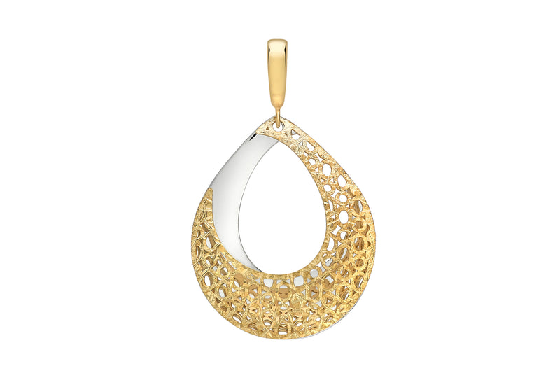 9ct 2-Colour Gold Teardrop Fretwork Pendant