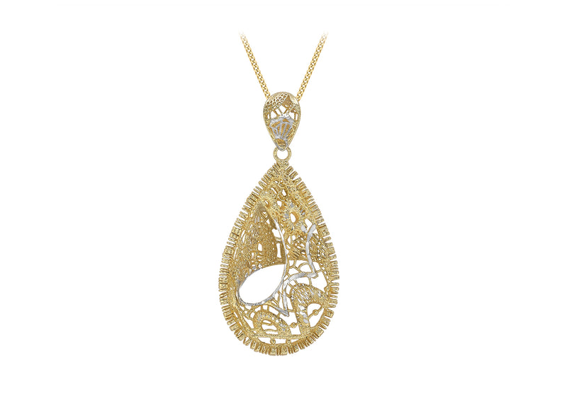 9ct 2-Tone Gold 19.6mm x 42.2mm Diamond Cut Lace-Style Teardrop Pendant