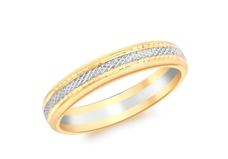 9ct 2-Colour Gold Patterned entre Band Ring