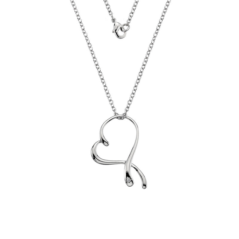 Large Open Heart Necklace  Hand-Set With A Diamond Accent