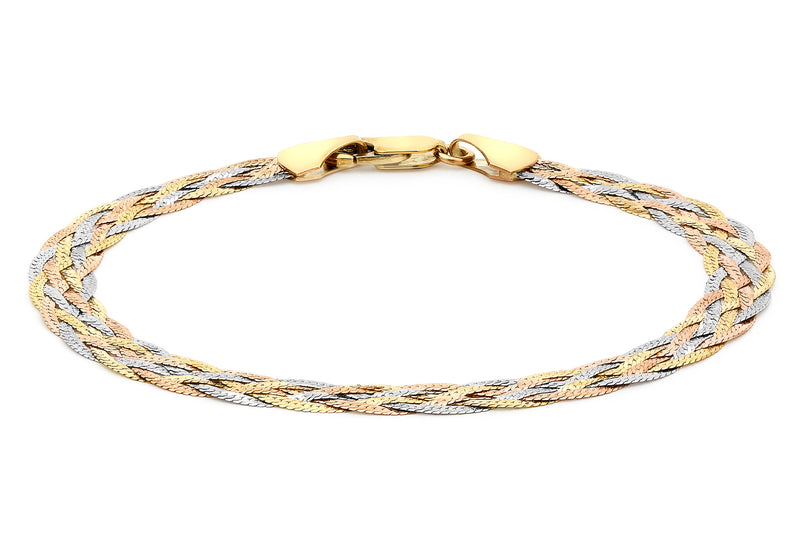 "9ct 3-Colour Gold 6-Plait Textured Herringbone Bracelet 18m/7""9"