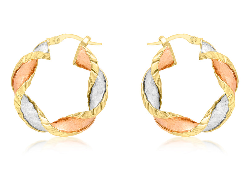 9ct 3-Colour Gold 25mm Twist Creole Earrings