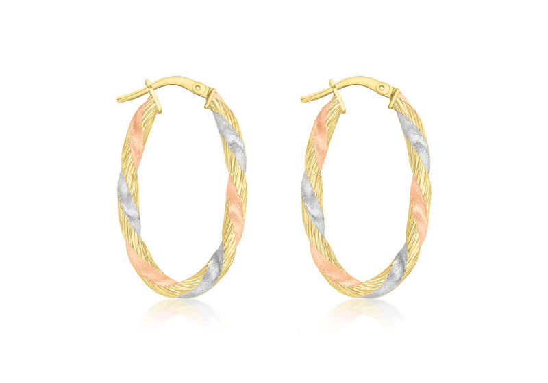 9ct Three Tone Satin Twist Creole Earrings