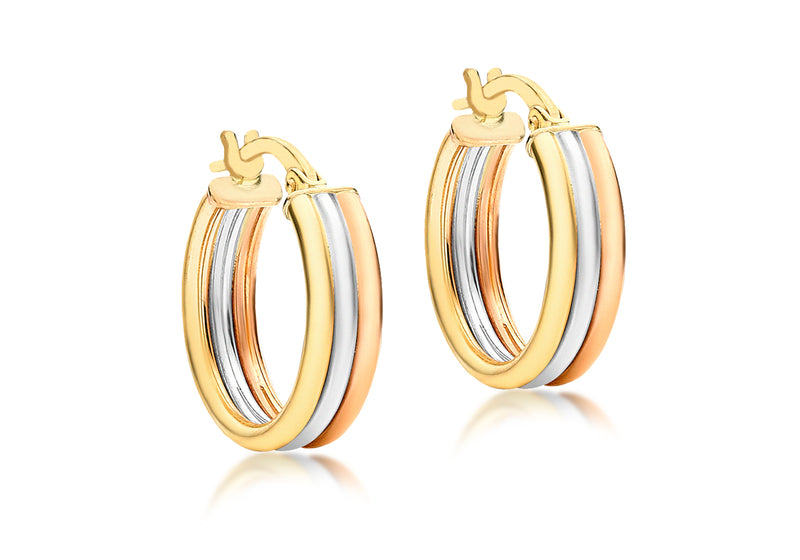 9ct 3-Colour Gold 17mm Polished Creole Earrings