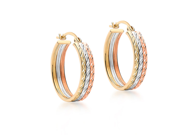 9ct 3-Colour Gold 18mm Diamond Cut Creole Earrings
