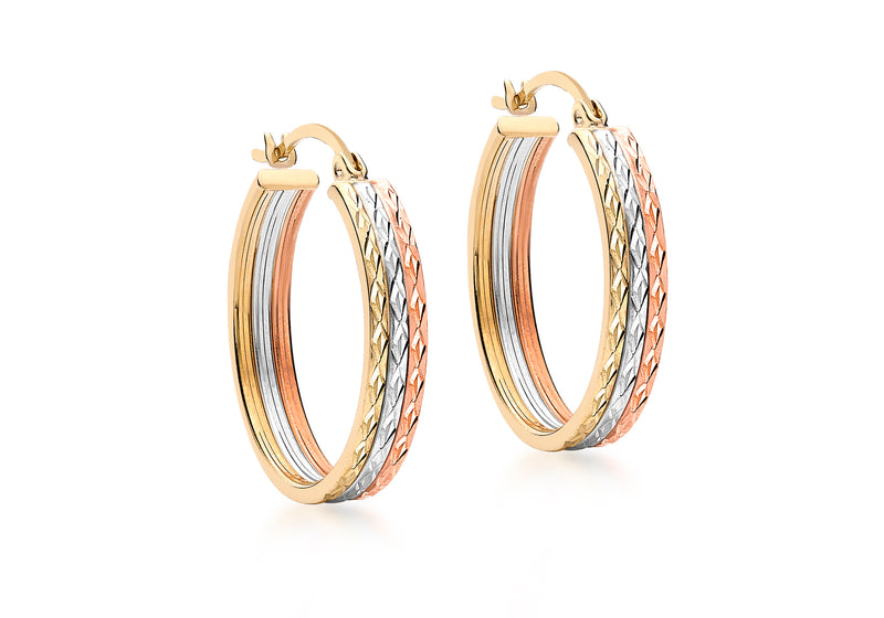 9ct 3-Colour Gold 22mm Diamond Cut Creole Earrings