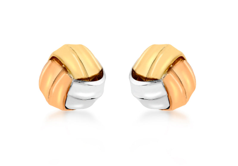9ct 3-Colour Gold 11mm Knot Stud Earrings