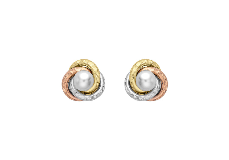 9ct 3-Colour Gold 9mm Diamond Cut Knot and Pearl Stud Earrings