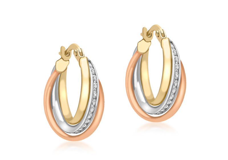 9ct 3-Colour Gold Zirconia  Intertwined Rings Creole Earrings