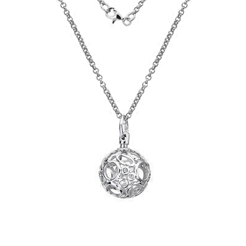 Openwork Sphere Necklace , Hand-Set With A Diamond Accent
