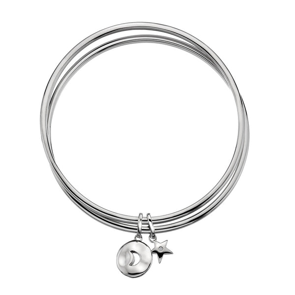 Double Bangle With Moon And Star Charms Hand-Set With A Diamond Accent