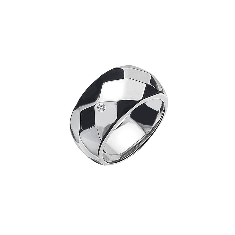 Rhodium Faceted Ring 0.01ct Hand-Set With Diamond Accent