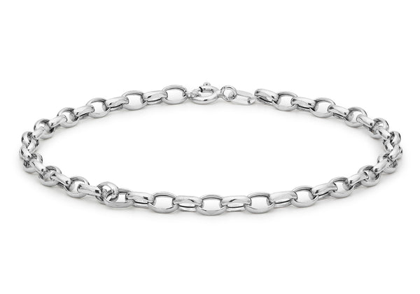 "9ct White Gold Hollow Oval Belcher  Anklet 25.5m/10""9"