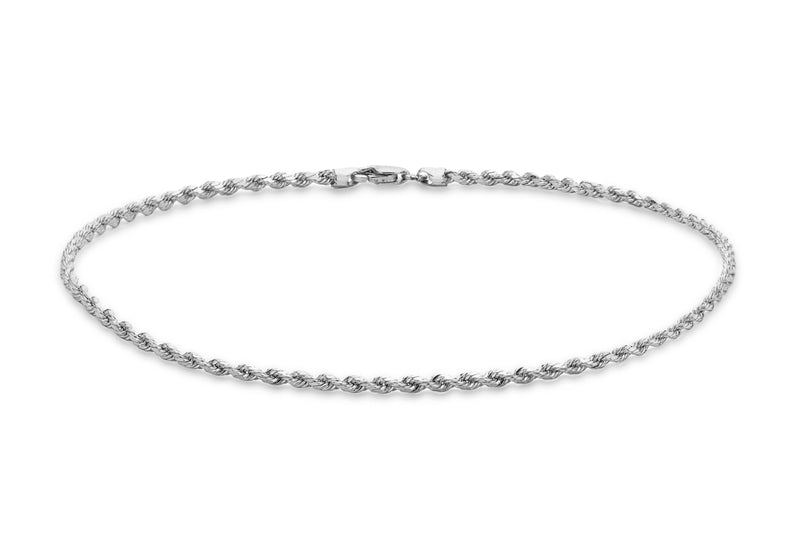 "9ct White Gold 30 Hollow Diamond Cut Rope Anklet 25.5m/10""9"