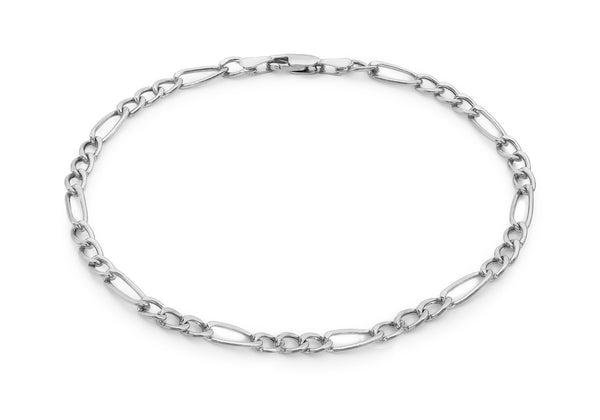 "9ct White Gold Diamond Cut 80 Figaro Anklet 24m/9.5""9"