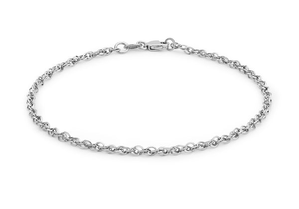 "9ct White Gold 40 Diamond Cut Prince of Wales Bracelet 18m/7""9"