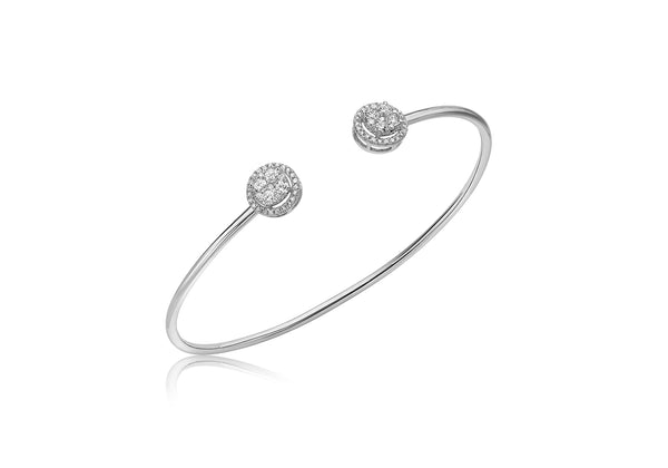 9ct White Gold 0.50ct Diamond Cluster Torque Bangle