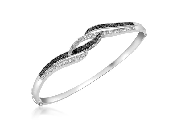 9ct White Gold 0.38t Black and White Diamond Twist Bangle