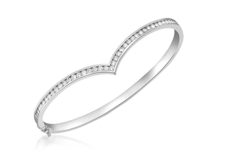 9ct White Gold 0.98t Channel Set Diamond Wishbone Bangle