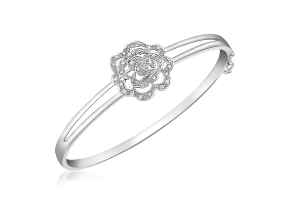 9ct White Gold 0.20t Diamond Rose Bangle