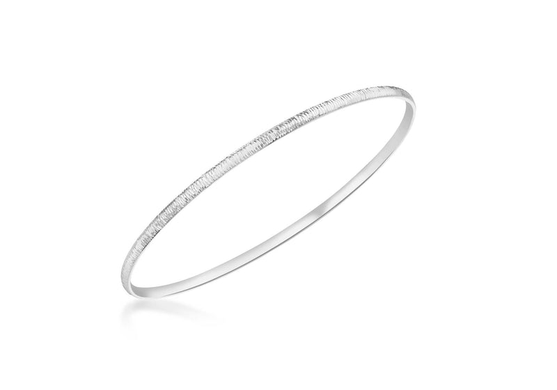 9ct White Gold Diamond Cut Round Bangle