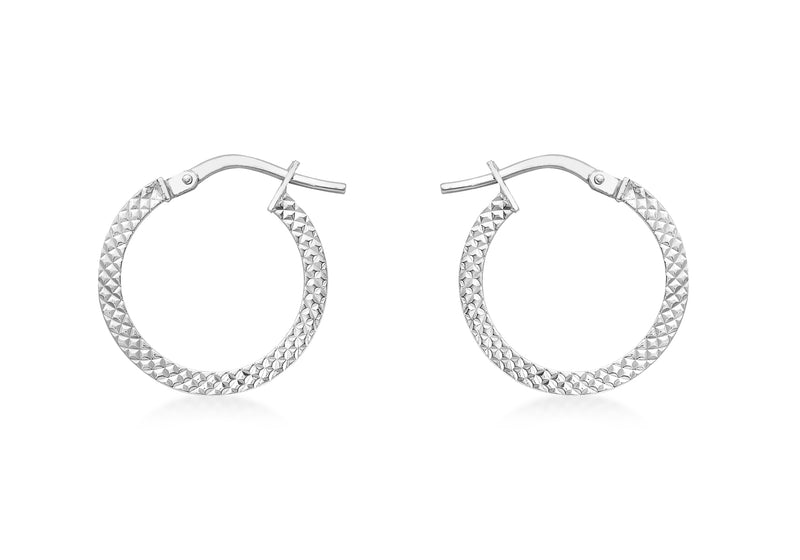 9ct White Gold 15mm Cobra Textured Creole Earrings
