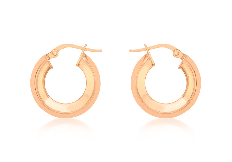 9ct Rose Gold 18mm Square Tube Creole Earrings