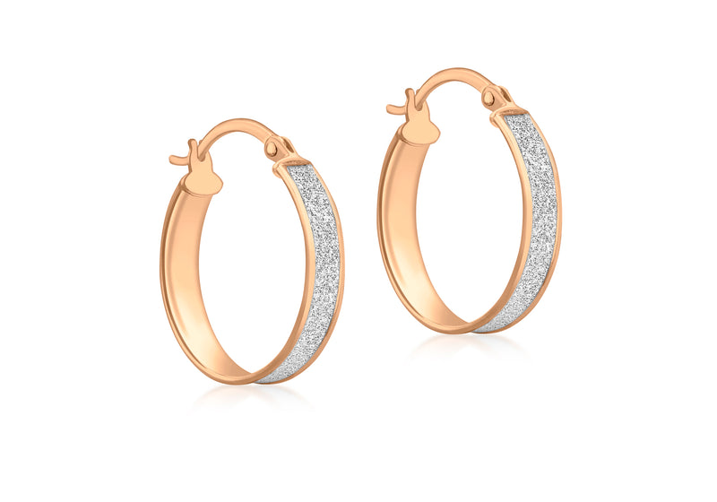9ct Rose Gold 18mm x 20mm Stardust Creole Earrings