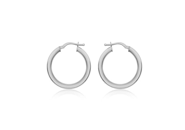 9ct White Gold 25mm Polished Creole Earrings