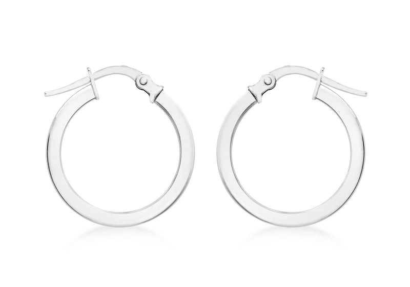 9ct White Gold 18mm Creole Earrings