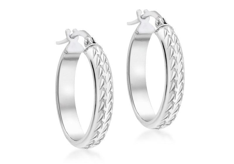 9ct White Gold Diamond Cut Oval Creole Earrings
