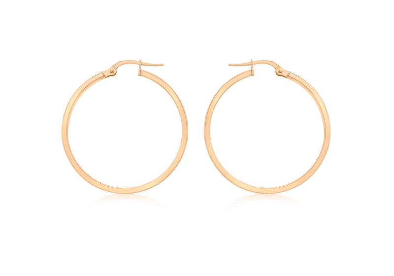 9ct Rose Gold 30mm Creole Earrings