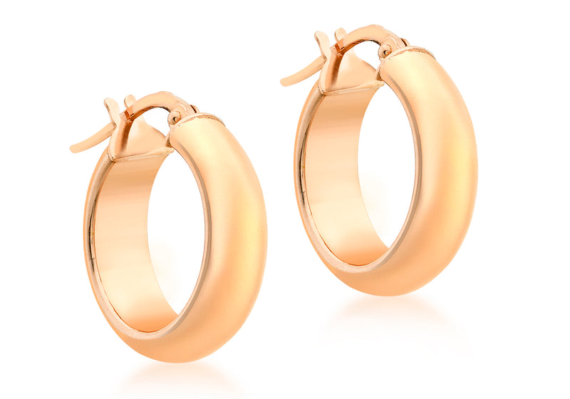9ct Rose Gold 17mm Polished Creole Earrings