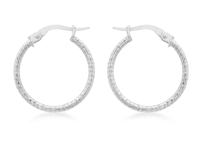 9ct White Gold 18mm Diamond Cut Round Creole Earrings