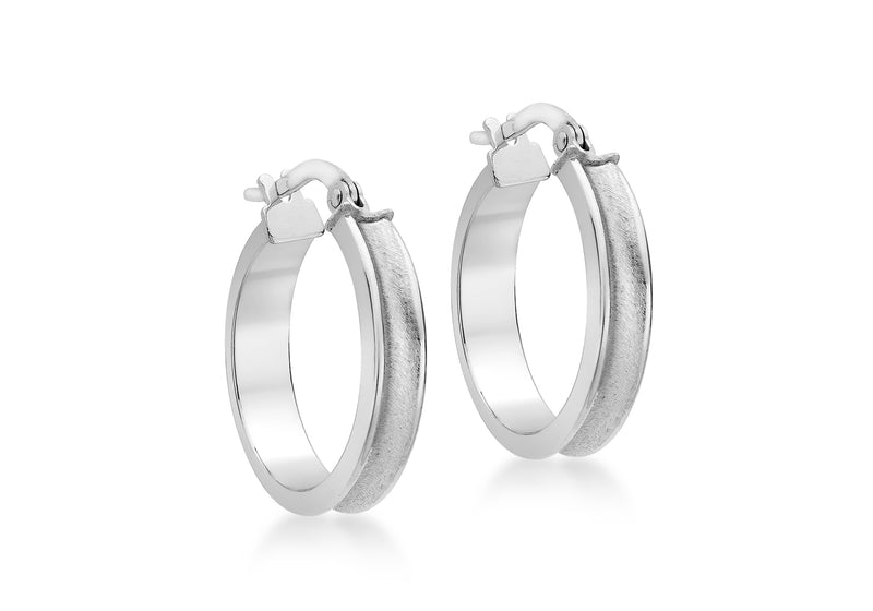 9ct White Gold 19mm Satin Creole Earrings