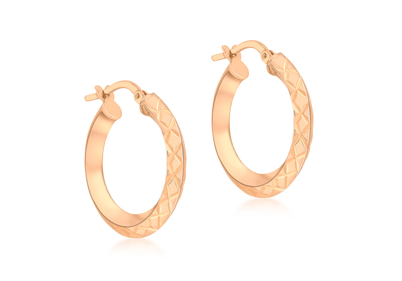 9ct Rose Gold 21mm Diamond Cut Sqaure Tube Creole Earrings