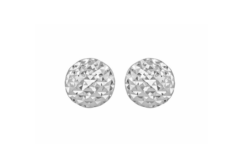 9ct White Gold Diamond Cut Pyramid Button Stud Earrings