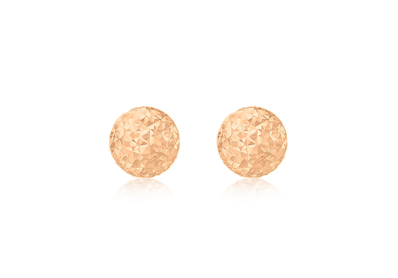 9ct Rose Gold 6mm Diamond Cut Ball Stud Earrings